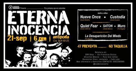 Los argentinos «Eterna Inocencia» debutan en Colombia el próximo 21 de septiembre