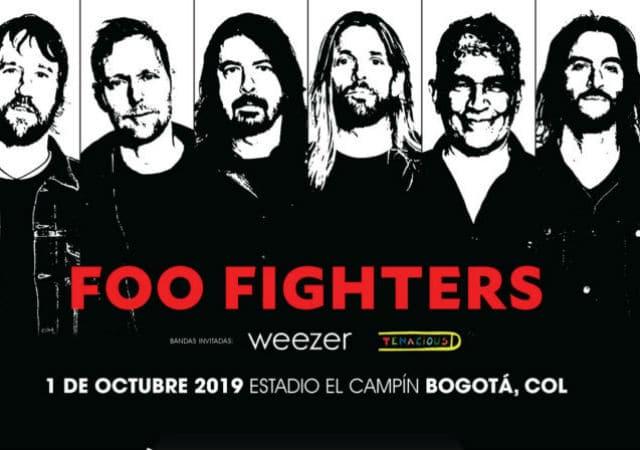 Foo Fighters, Weezer y Tenacious D en Bogotá en octubre próximo