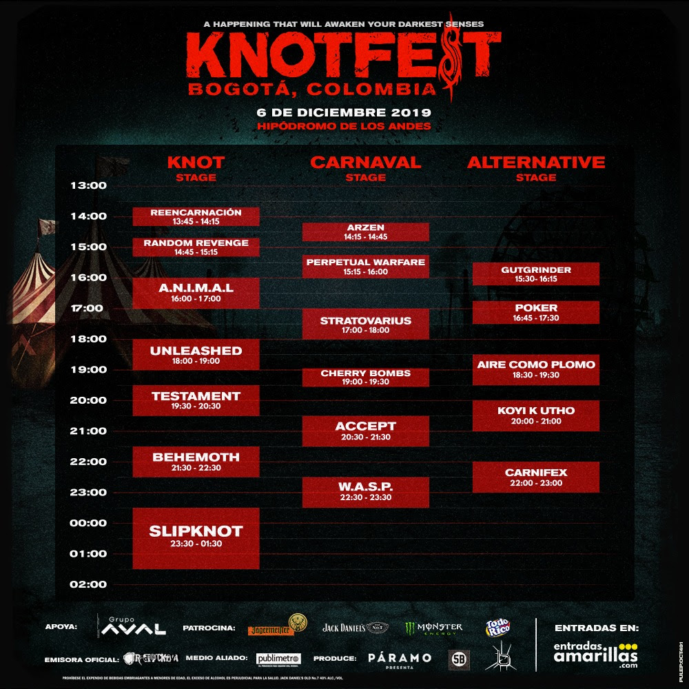 Knotfest Colombia 2019 horarios