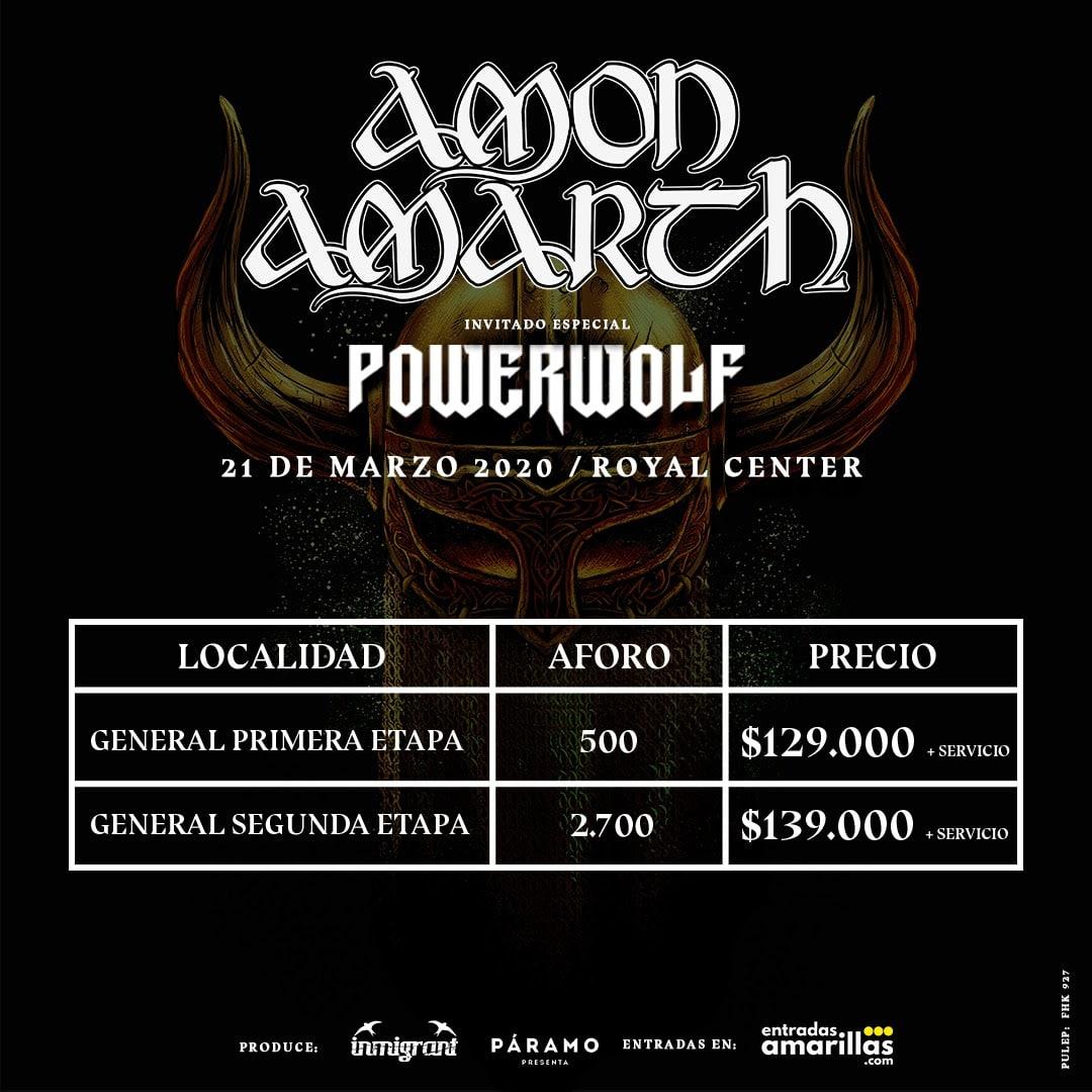precio boleteria amon amarth y powerwolf en bogota